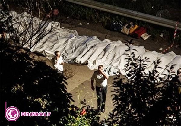 سقوط اتوبوس گردشگران از پل در ایتالیا ۳۷ قربانی گرفت+5عکس
