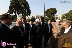 «حسن روحانی» به همراه وزرای پیشنهادی در مجلس+9عکس