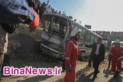 خروج خونین اتوبوس بنز از جاده / مرگ 7 تن در برخورد سمند و وانت نیسان