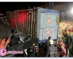 واژگونی تریلر روی ماشینعروس/حال داماد وخیم است + تصاویر