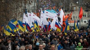 تظاهرات هزاران نفری در مسکو در اعتراض به مداخله روسیه در کریمه