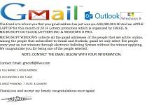 مراقب ایمیل جعلی جیمیل باشید/ شما برنده شدهاید!