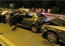 تصادف زنجیرهای 7 خودرو در اتوبان قم