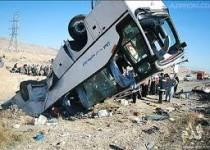واژگونی و تصادف دو اتوبوس در قم