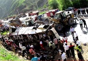 11کشته براثر واژگونی اتوبوس درمسیر سوادکوه