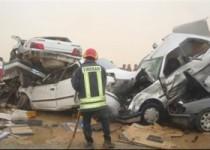 تصادف زنجیرهای ۱۲ خودرو در جاده مخصوص کرج