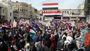تظاهرات سوریها در دمشق برای حمایت از ارتش و نظام