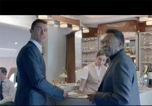 تصاویری از پله و رونالدو در یک فیلم تبلیغاتی